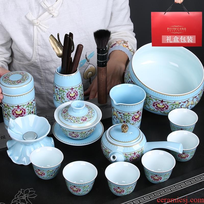 Gold colored enamel porcelain tea taking of a complete set of kung fu tea set the teapot fair keller cup six sides put pot of gifts