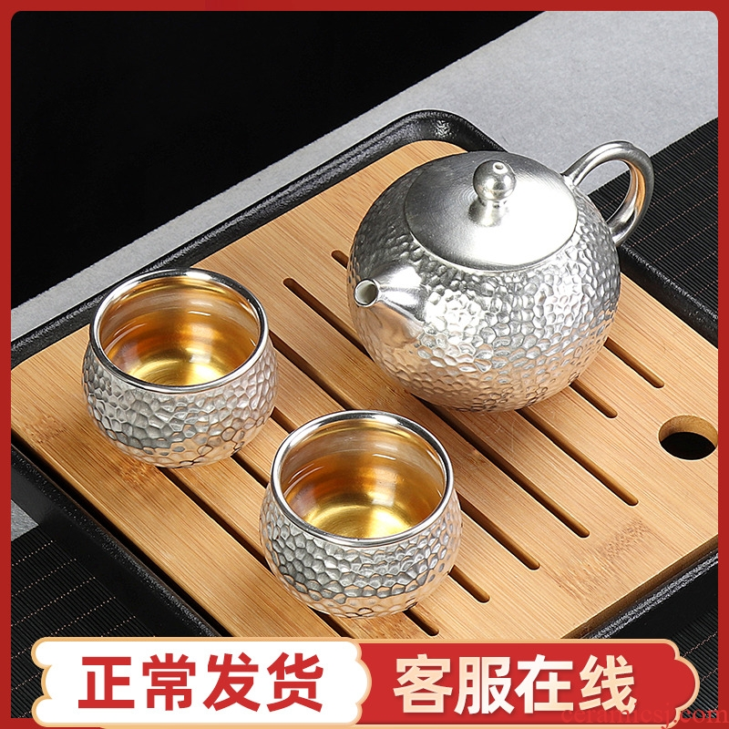 999 sterling silver cup 2 people to crack a pot of two cups of ceramic kung fu Japanese office portable travel tea set