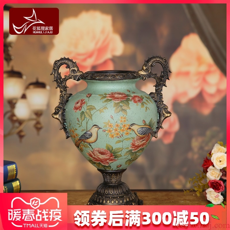 Flower fox American country ceramic painting of flowers and big vase furnishing articles retro vases, Flower implement European home decoration