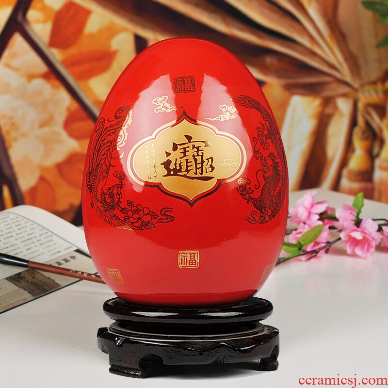 Jingdezhen ceramics China red peony flowers prosperous vase furnishing articles household decoration decoration in the living room