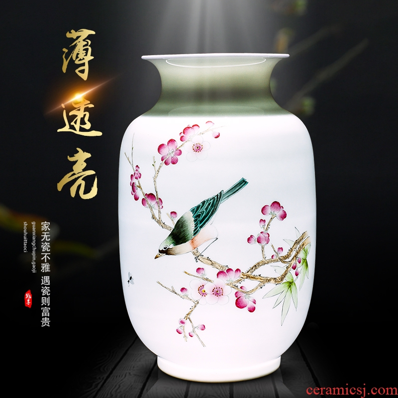 Jingdezhen ceramics hand - made vase of new Chinese style household flower arranging porch decoration art crafts home furnishing articles