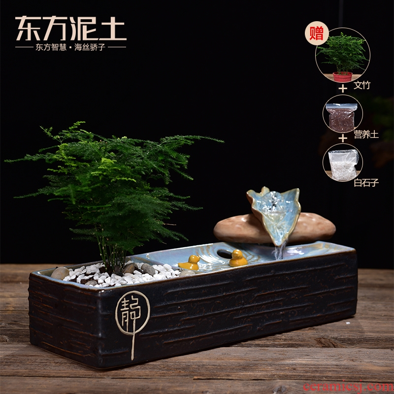 The New Chinese zen Oriental clay ceramic water furnishing articles creative living room feng shui wheel humidifier decorative arts and crafts