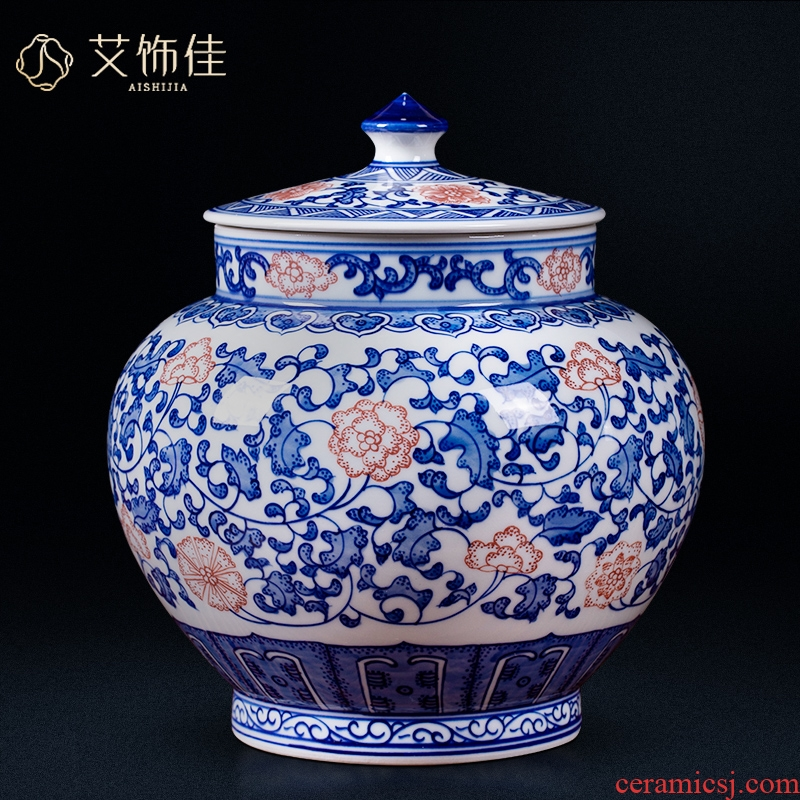 Blue and white porcelain of jingdezhen ceramics youligong storage jar archaize sitting room porch study Chinese collection furnishing articles