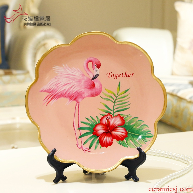 American country of flowers and birds painting ceramic decoration plate furnishing articles European household act the role ofing is tasted plate plate shelf bracket