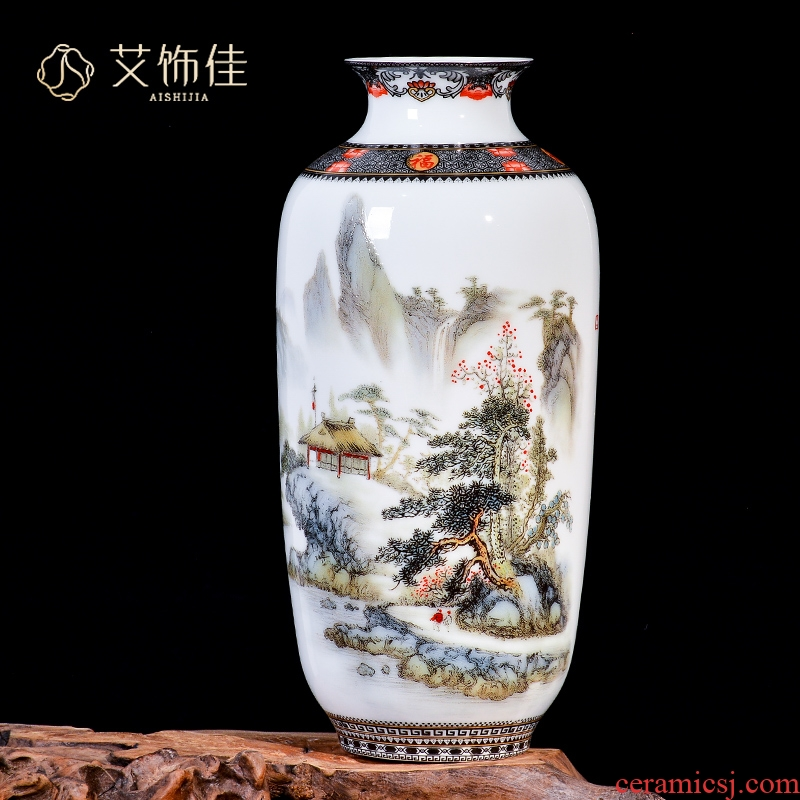Jingdezhen ceramic pastel landscape dried flower arranging flowers sitting room place, a new Chinese TV ark, wine porch decoration