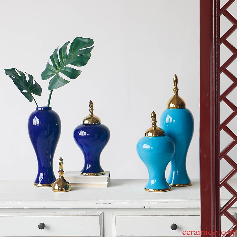 Neo - classical European ceramic vase villa living room home decoration wine porch gold pot cover general furnishing articles