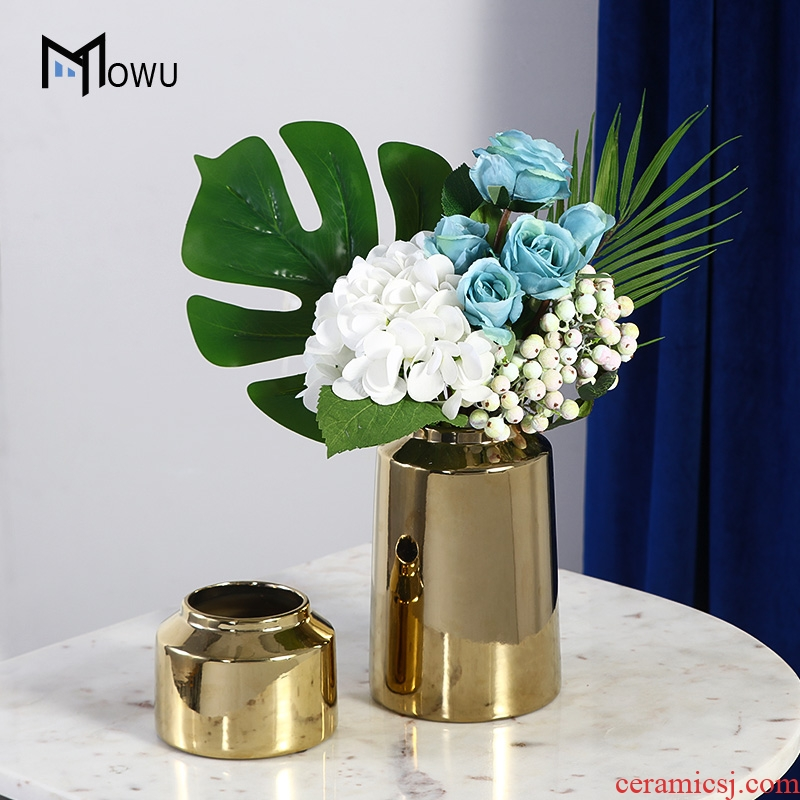 Light key-2 luxury table flower northern wind aureate ceramic vase furnishing articles flower arranging contracted sitting room of modern household soft adornment