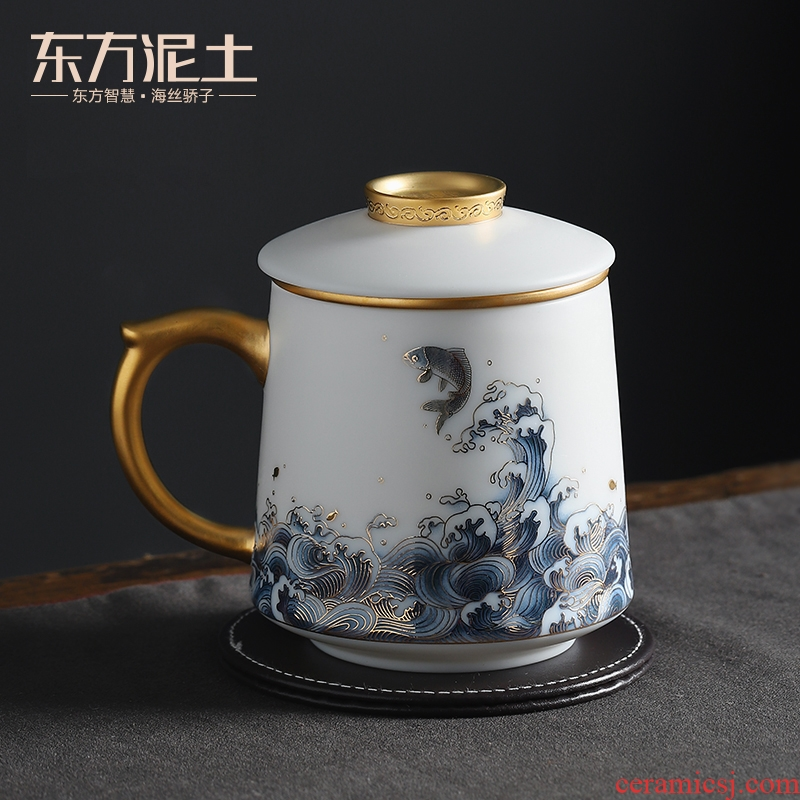 The east mud suet jade white porcelain office cup high - grade practical creative ceramic gifts company set annual meeting