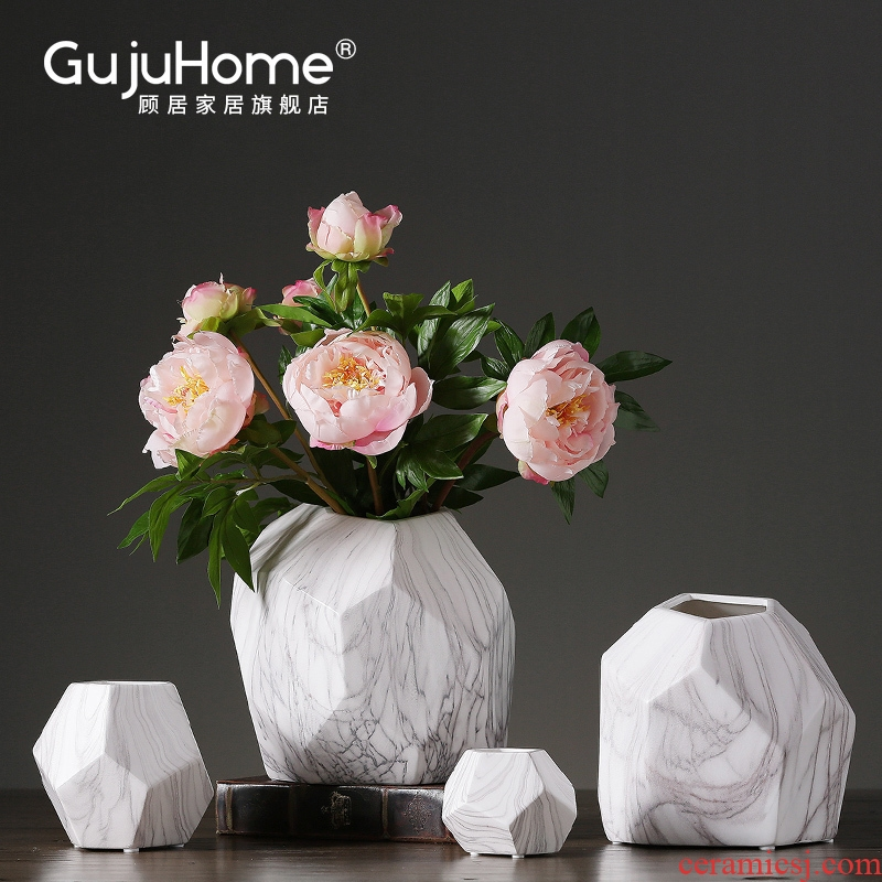 Nordic white marble furnishing articles ceramic vase flower arranging creative household soft adornment sitting room dry flower flower