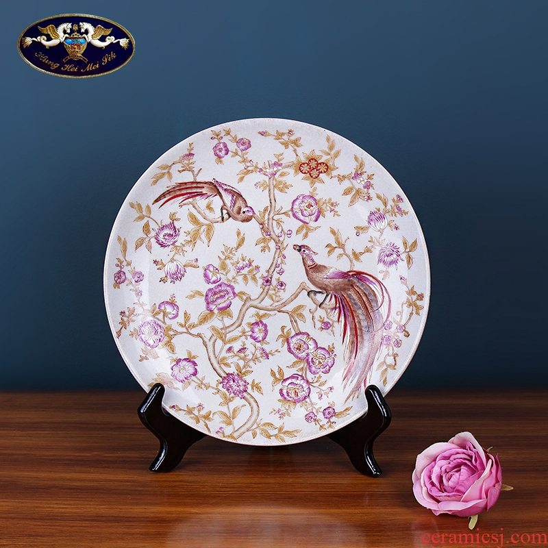 European ceramic painting creative home hanging plate plate living room TV cabinet reveals ark adornment sat dish furnishing articles