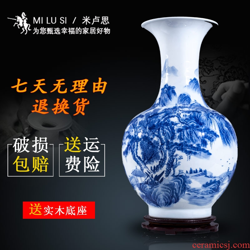 Blue and white porcelain of jingdezhen ceramics and the new Chinese style household furnishing articles sitting room porch decoration of large vase