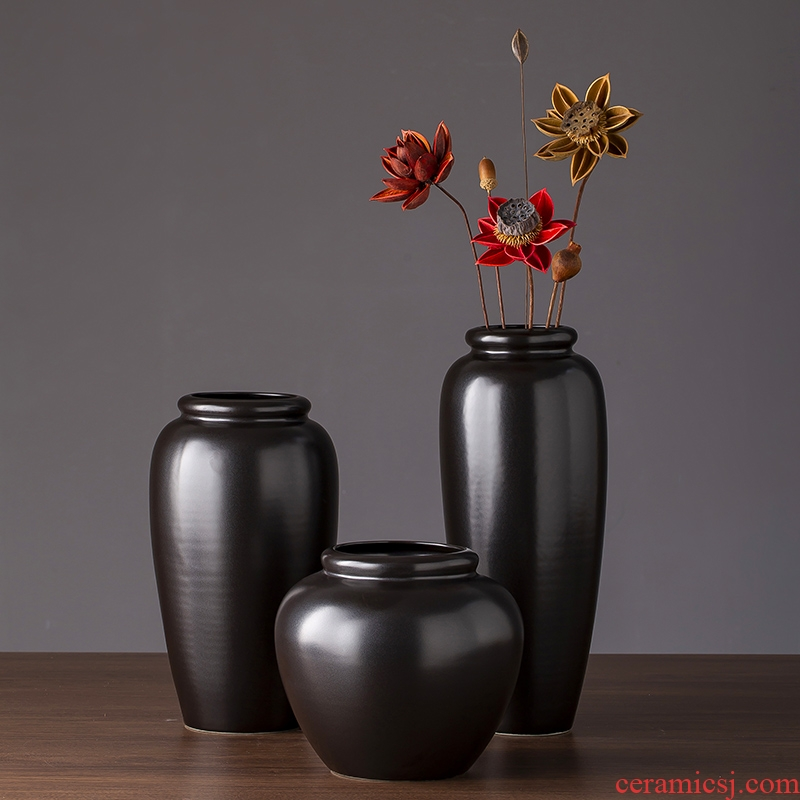 2019 new black ceramic vase creative zen contracted and I sitting room place small vase do the vase