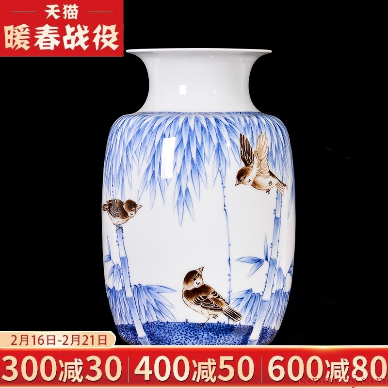 Master of jingdezhen ceramics hand - made thin body new sitting room of Chinese style household vase rich ancient frame TV ark, adornment