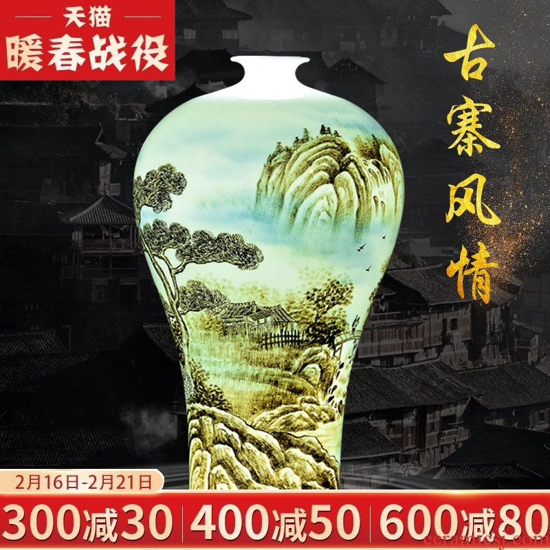 Jingdezhen ceramic flower arranging furnishing articles hand - made master thin foetus vase Chinese decorative home sitting room porch handicraft