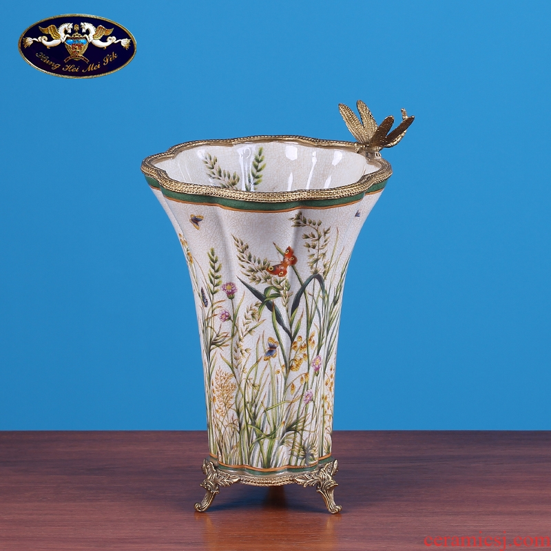 American creative ceramic vase sitting room light key-2 luxury furnishing articles European household table dry flower arranging flowers adornment ornament