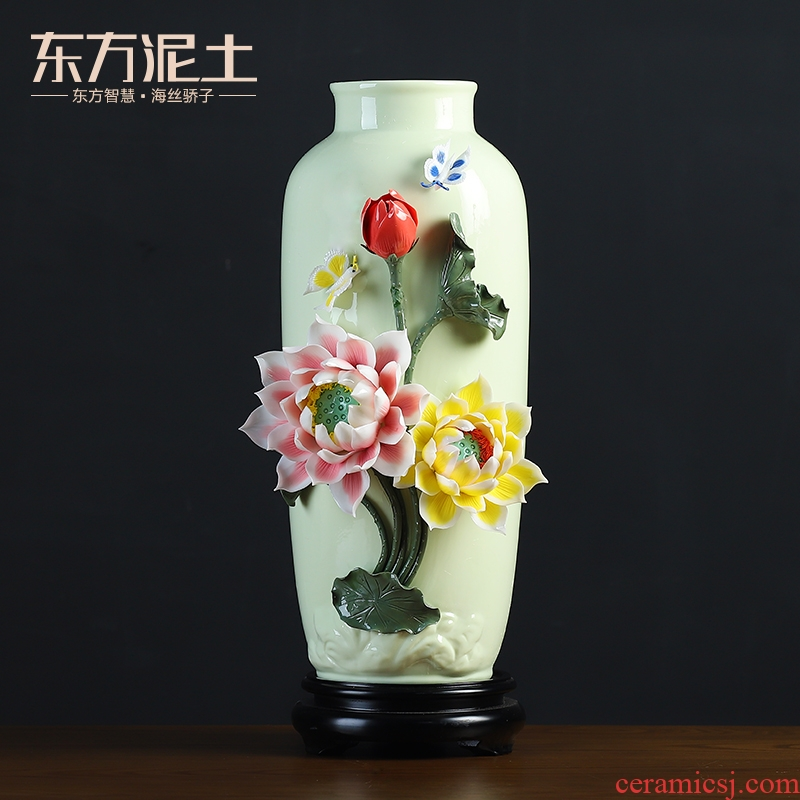 Oriental clay ceramic vase furnishing articles sitting room ark of high - grade decorative decoration/recent manual arts and crafts