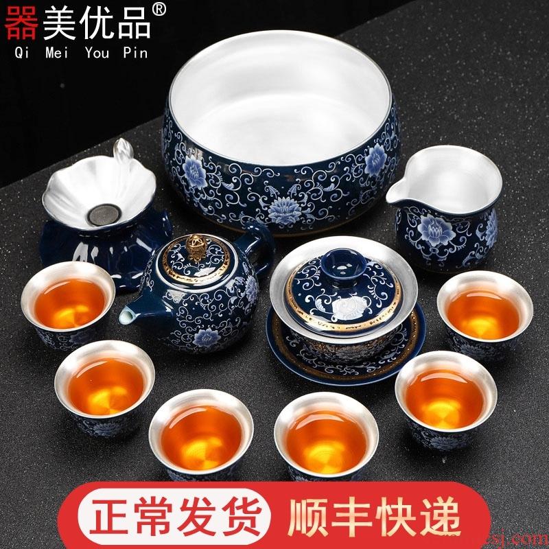 Implement the optimal product jingdezhen kung fu tea set mine loader 999 sterling silver tea set a complete set of ceramic cups tureen tea sets