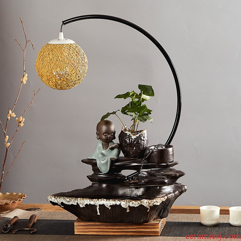 Zen ceramic aquarium water fountain place feng shui plutus sitting room of Chinese style household TV ark, desktop decoration