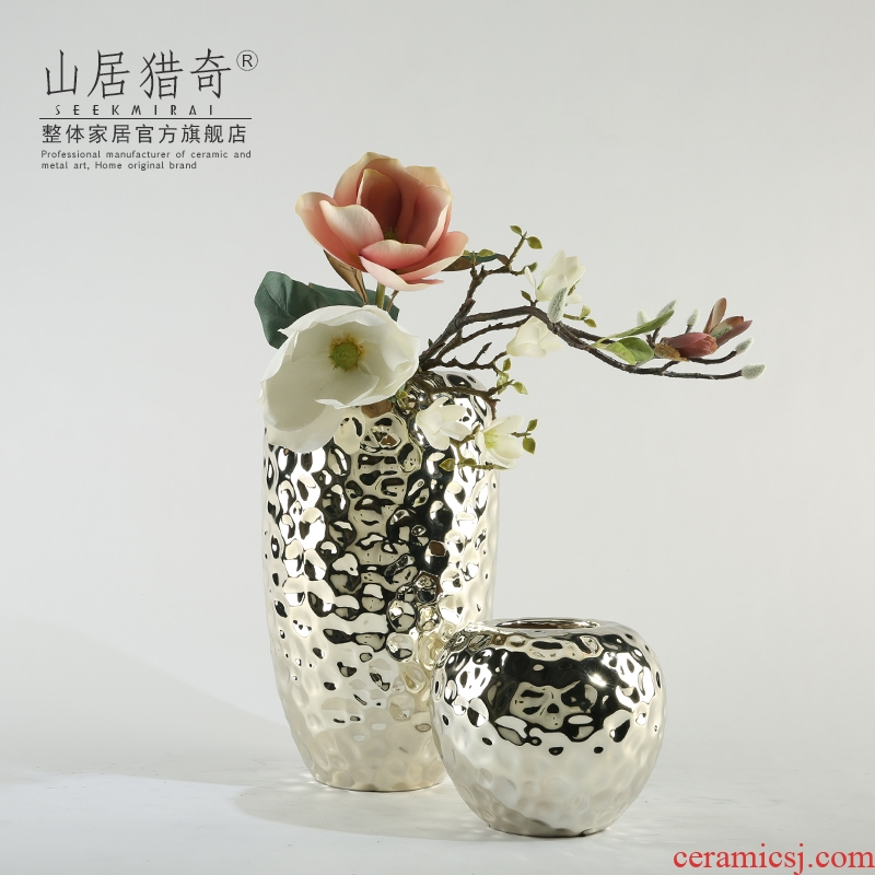 Bigger gold - plated silver ceramic vase hotel club example room art flower arranging dried flower flower implement pottery vase
