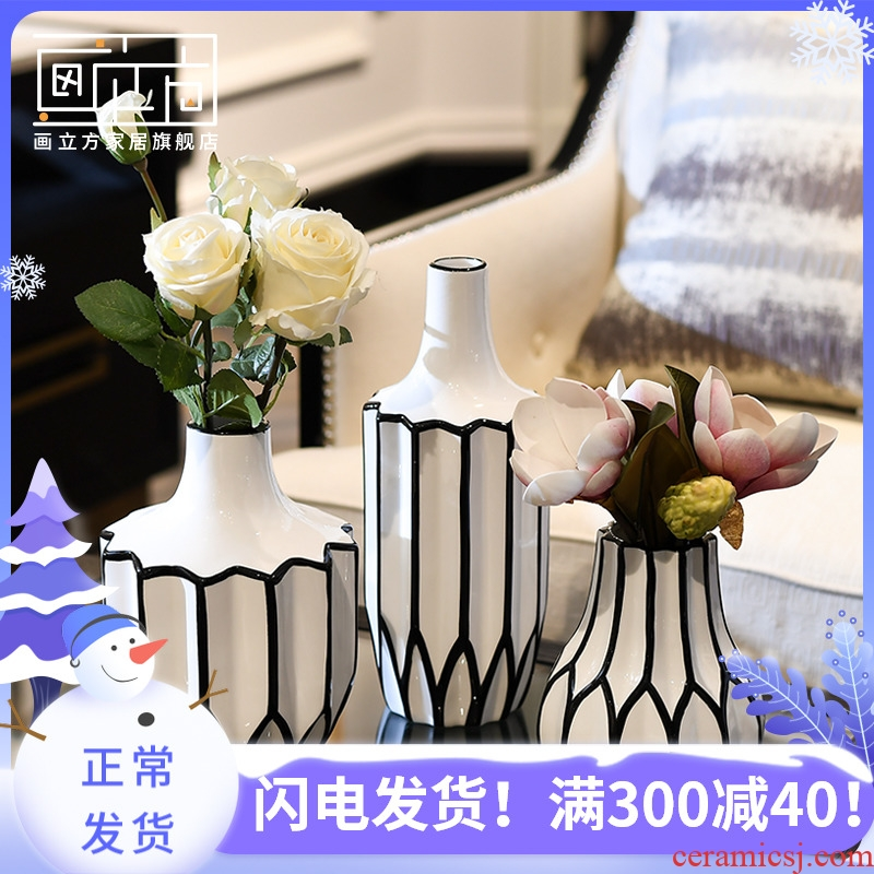 Furnishing articles sitting room cubic Nordic contracted origami ceramic vase dried flowers, flower arrangement, household decoration decoration