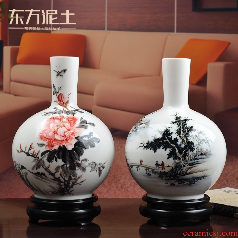 Oriental earth celestial porcelain hand - made ceramic vase furnishing articles furnishing articles flower arranging Chinese rich ancient frame sitting room adornment
