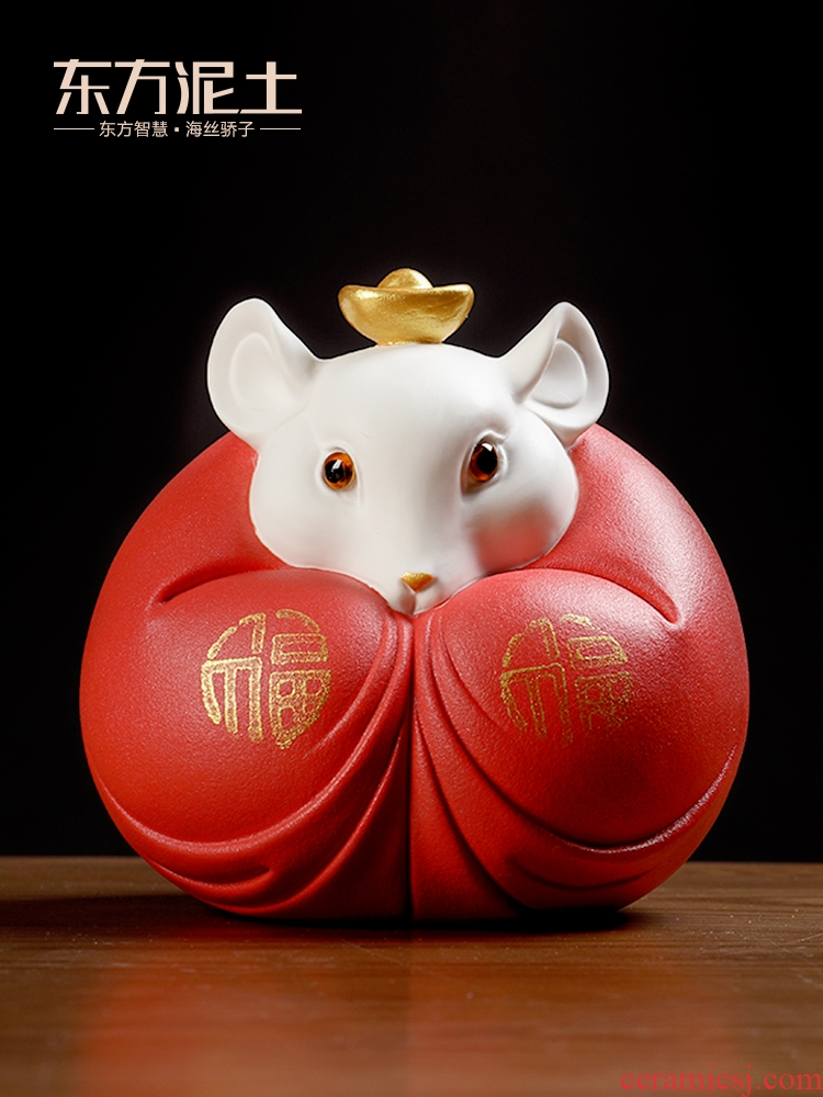 Oriental clay ceramic mice furnishing articles rat year of the rat mascot New year gift sitting room adornment/f rat