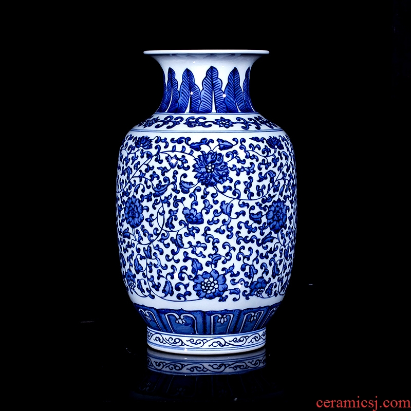 Jingdezhen ceramics imitation the qing qianlong blue auspicious pattern design of Chinese style living room home furnishing articles