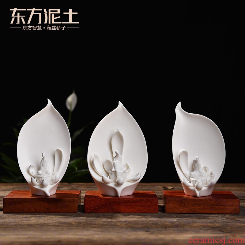 Oriental soil creative ceramic Chinese zen characters desktop furnishing articles/six degrees of dehua white porcelain decorative arts and crafts