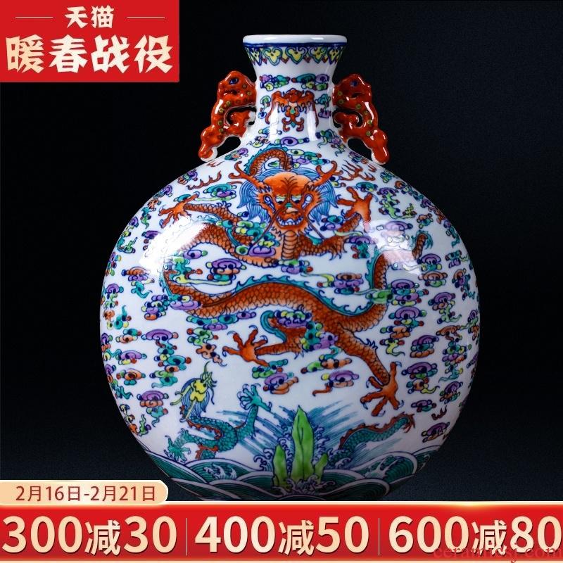 Jingdezhen ceramic vases, antique pastel ears dragon flower arrangement sitting room place decorates porch study arts and crafts