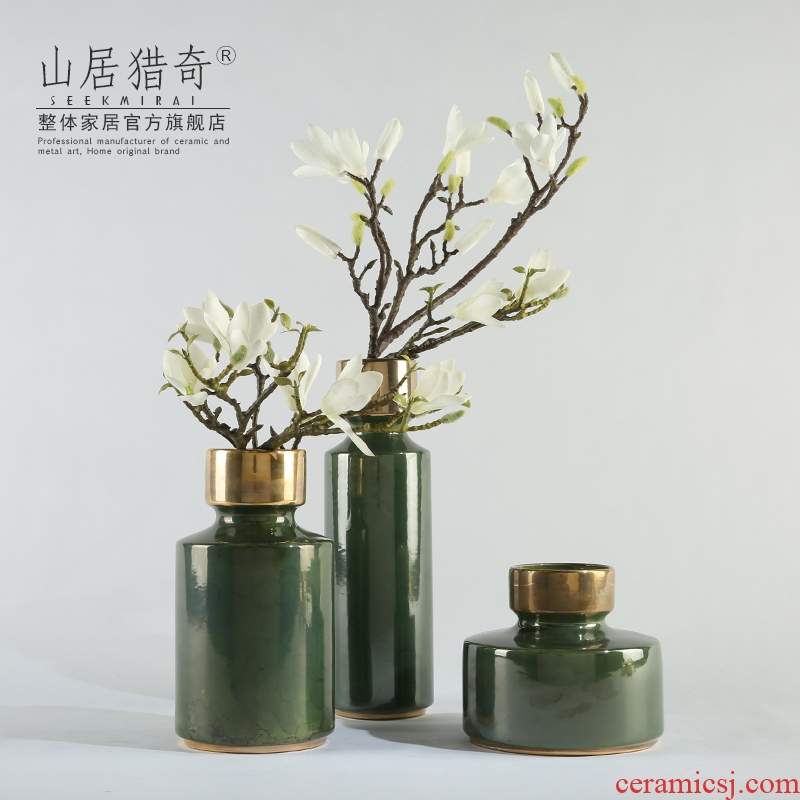 New classic American ceramic vase furnishing articles three - piece mensal adornment bedroom yellow green vase fine flask