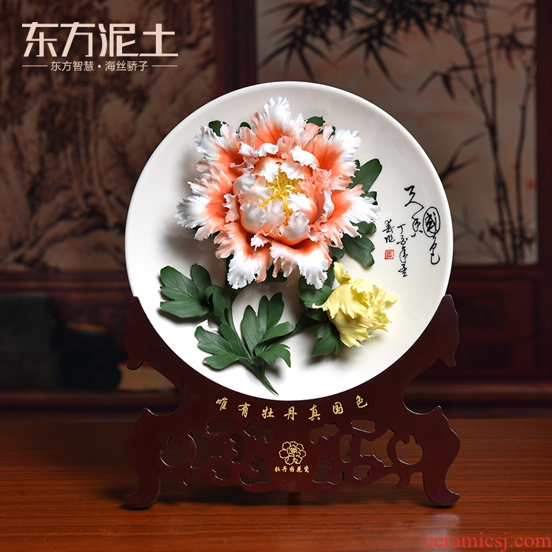 Oriental clay ceramic peony hang dish furnishing articles sitting room ark of adornment of Chinese style rich ancient frame partition arts and crafts