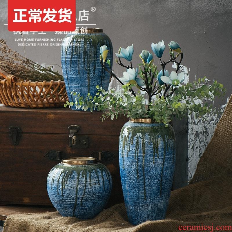 Jingdezhen ceramic dry flower vases, flower arrangement sitting room coarse pottery retro earthenware jar flower art porch is decorated pottery furnishing articles