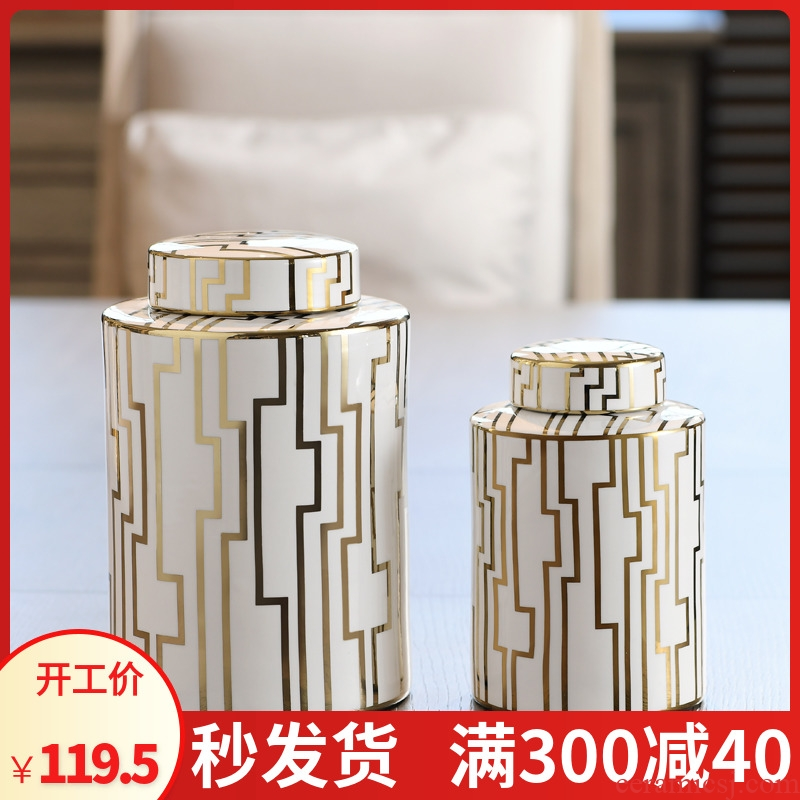 New Chinese style of jingdezhen ceramic light storage tank key-2 luxury gold furnishing articles study of New Chinese style porch sitting room adornment