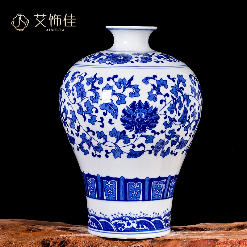Jingdezhen ceramics antique blue - and - white bound branch lotus bottle of flower arranging place of new Chinese style living room TV cabinet decoration