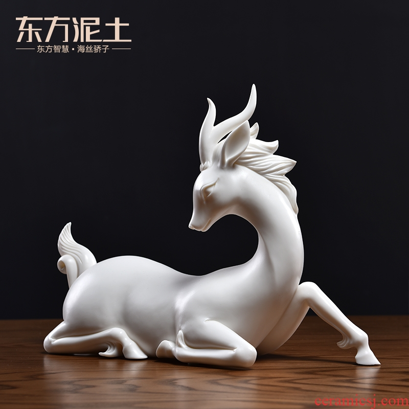 Oriental soil dehua white porcelain its art ceramic deer sitting room adornment handicraft furnishing articles/blessing