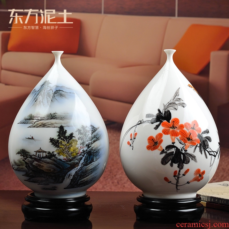 Oriental clay ceramic hand - made vases furnishing articles under the glaze color of Chinese style classical decoration dehua white porcelain sitting room