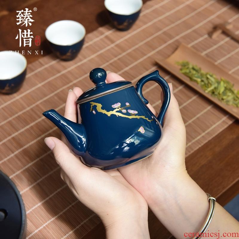 """Precious little ji blue modern ceramic teapot household pot of Japanese kung fu tea set of the filter the teapot tea by hand"