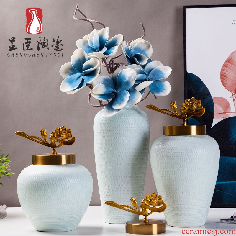 European furnishing articles desktop floret bottle of the sitting room porch decoration ceramic white porcelain vases, flower implement simulation