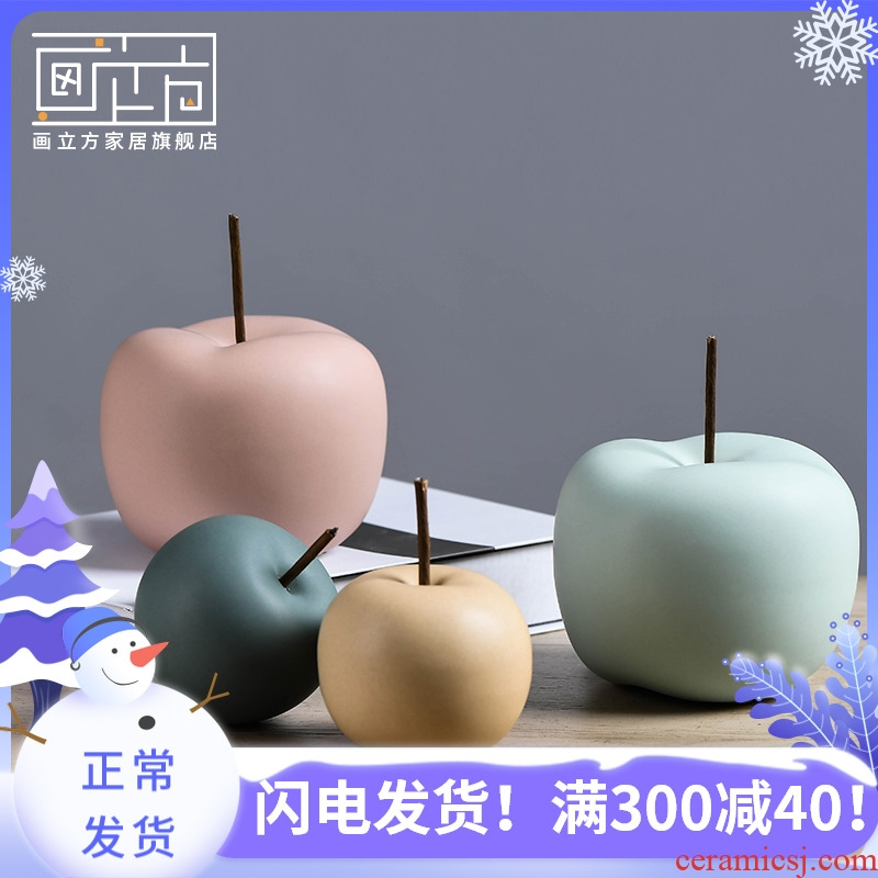 Boreal Europe style creative ceramic apple furnishing articles safe simulation fruit fruit TV ark, is I and contracted sitting room adornment
