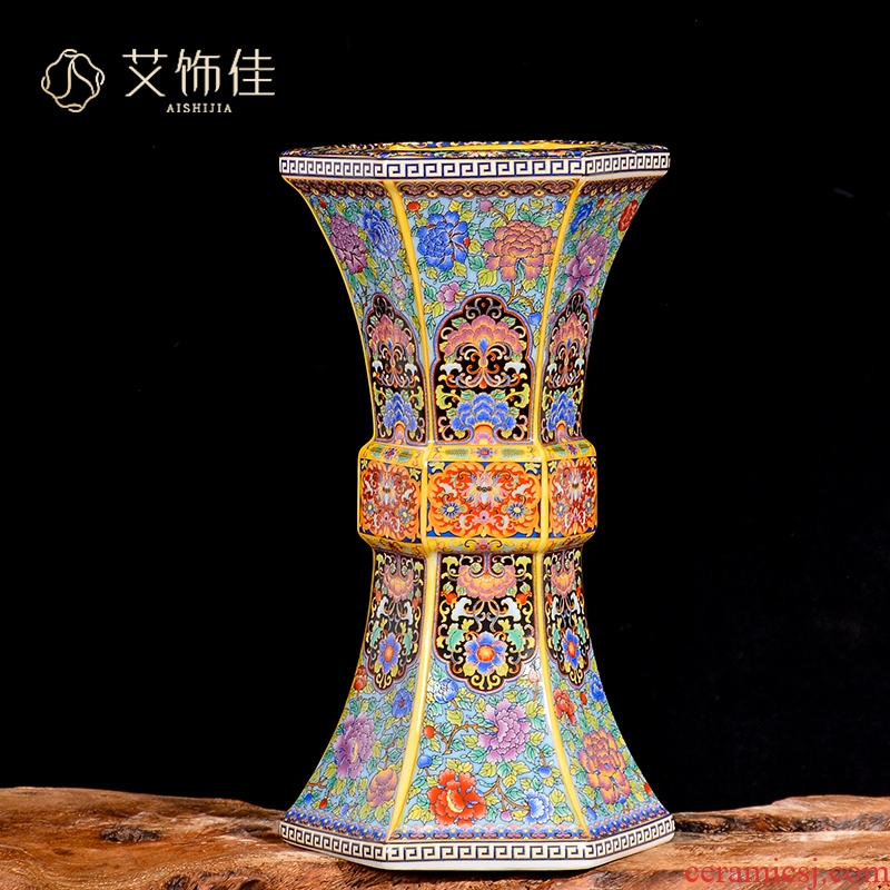 Jingdezhen archaize enamel made pottery porcelain vases, flower arranging flower arrangement sitting room decoration of Chinese style household furnishing articles