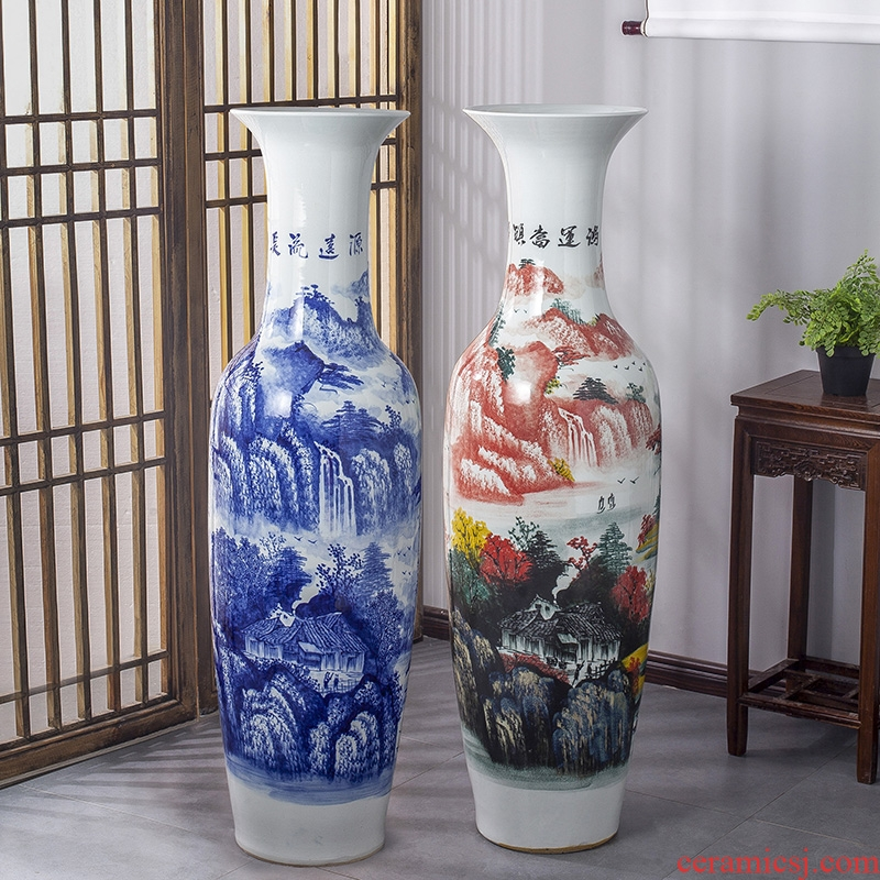 Jingdezhen ceramic large antique hand - made sitting room place decoration of Chinese style household adornment of blue and white porcelain vase