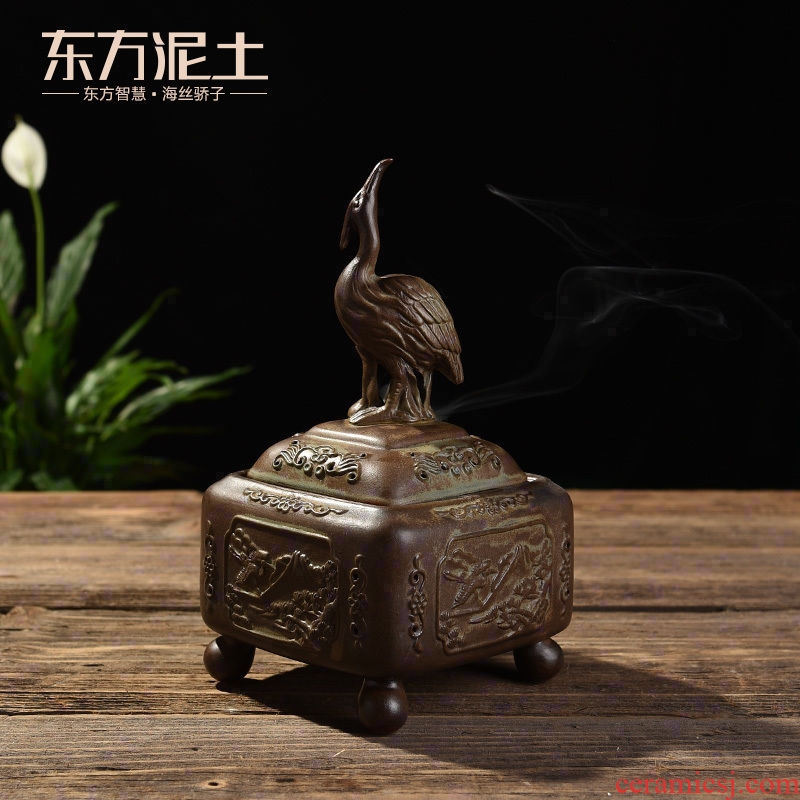 Oriental clay ceramic antique censer household sandalwood disk present indoor purify air crane furnace incense aroma stove