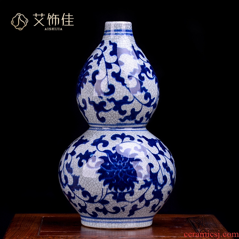 Jingdezhen ceramic vase furnishing articles archaize up with blue and white porcelain flower arrangement sitting room place, a new Chinese style classical decoration