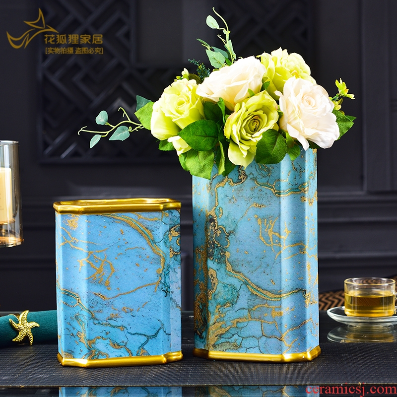 American light key-2 luxury ceramic vase furnishing articles household adornment of I sitting room TV cabinet table flower arranging hydroponic flowers