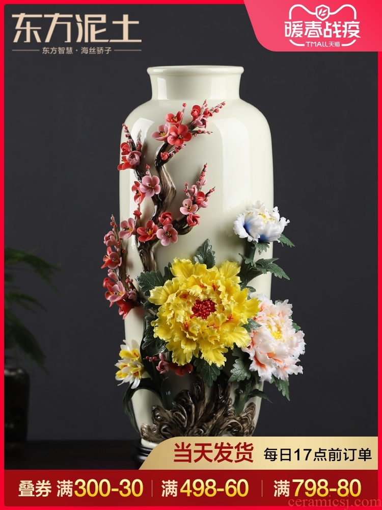 Oriental soil new Chinese checking ceramic flower vases, furnishing articles sitting room flower arranging rich ancient frame porcelain decorative arts and crafts