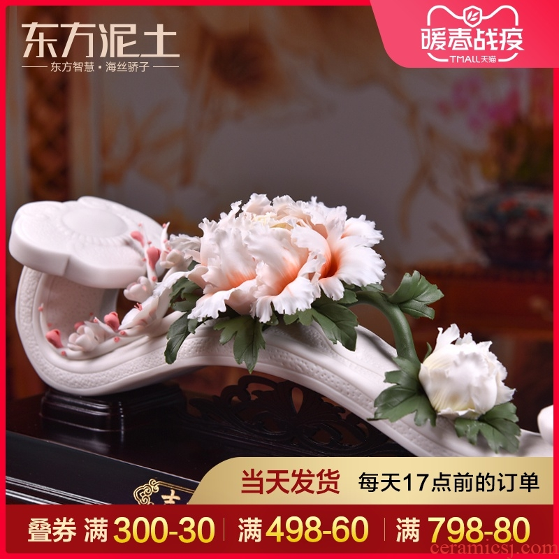 Oriental clay ceramic flower furnishing articles dehua white porcelain art sitting room version into gift/good lucky for you