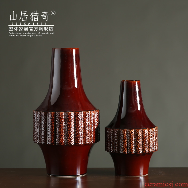 Gear blue red ceramic dry flower vases, new classical creative flower arranging, American living room table decoration furnishing articles