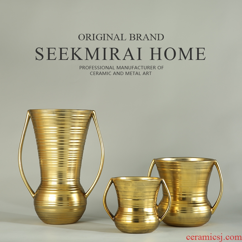 European household act the role ofing is tasted, the sitting room decorate ceramic vases, three - piece suit modern gold thin ears vase furnishing articles