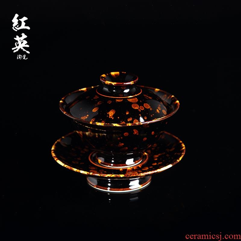 Red the jingdezhen ceramic kung fu tea set home tea bowl hawksbill jizhou up three tureen tea cups