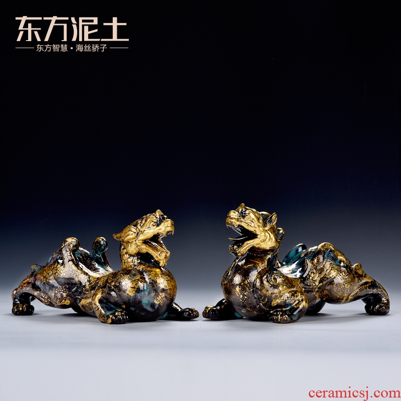 Oriental clay ceramic artisans Zhang Chang the teacher Lin, a bronze color series/day Paul of the mythical wild animal
